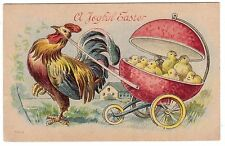 ANTIQUE JOYFUL EASTER PROUD POP ROOSTER PULLS BABY CHICKS IN EGG BUGGY POSTCARD