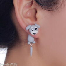 JD 1Pair 3D Animal Schnauzer Dog Polymer Clay Ear Stud Earrings Women Girl Gift