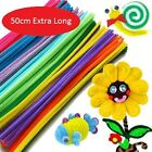 100 Jumbo Chenille Pipe Cleaners Assorted Colours 50cm x 6mm EXTRA LONG