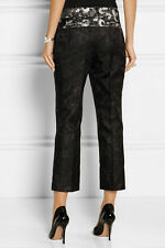 $695 Vera Wang runway metallic silk-blend floral jacquard black pants size 8