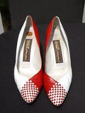 Bally of Switzerland Red & White Leather Lisa Pumps High Heels Ponte Shank 7 M