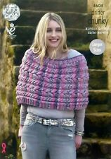 KNITTING PATTERN Ladies Cabled Short Cape/Poncho Chunky King Cole 4604