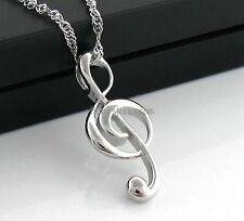 Fashion Silver Tone Treble G Clef Music Note Charm Pendant Necklace w Chain