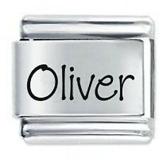 OLIVER Name - 9mm Daisy Charm by JSC Fits Classic Size Italian Charms Bracelet