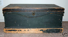 Antique Military or School Trunk Blue Green Primitive Chest c1870s Owners Name