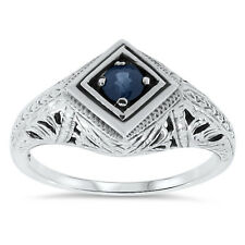 ANTIQUE DECO STYLE GENUINE SAPPHIRE .925 STERLING SILVER FILIGREE RING Sz 9, #59
