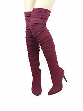 Monet-23 Over the knee Thigh High Pointy toe Stiletto zipper Ruched Boots