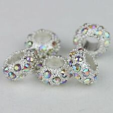 50PCS Lot Clear AB Czech Crystal Rhinestone Rondelle Spacer European Charm Beads