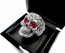 Men's Silver Floral Skull  Ring With Rubies 2.20 ct.