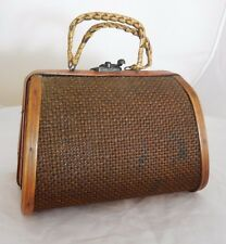 Vintage 1970s Wooden Woven Basket Purse Boho Unique Rare Box