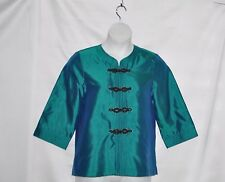 Bob Mackie Silk Cross-Dyed Dupioni Jacket w/ Trapunto Trim Size S Peacock