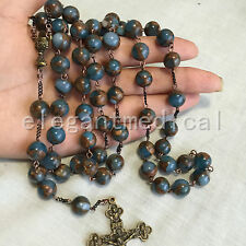 LARGE XL 10MM Football STONE beads 5 DECADE Rosary GIFT Vintage  Cross Necklace