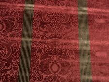 "DONGHIA DAMASK FLORAL STRIPE CRANBERRY RED VELVET PILLOW FABRIC BY THE YARD 52""W"