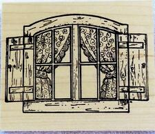 Northwoods Rubber Stamp Wood Mounted Country Window With Shutters Curtains