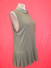 Oasis Black Studdcollar Peplum Flared Long Khaki Green Top Blouse 12 14 16 M/L