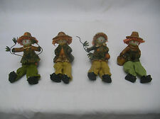 SET OF 4 COUNTRY SCARECROW SHELF SITTERS