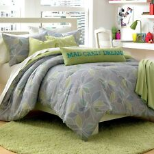 Steve Madden CHELSEA 4pc TWIN COMFORTER SET ~ Green Grey Ocean Hues MOD FLORAL