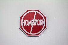 No Homework Door Decor Wood Sign Plaque Red Octagon Cute Funny Sign for Summer