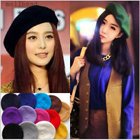 New Fashion Women 100% Wool Warm Felt French Beret Beanie Hat Cap Tam 12 colors