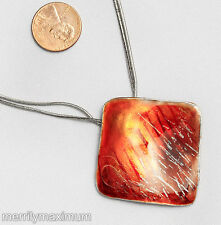 Chico's Signed Necklace Silver Tone Snake Chains Orange Flame Enamel Pendant