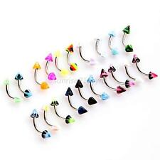 20PCS Stainless Steel Ball Barbell Curved Eyebrow Rings Bar Tragus Ear Piercing
