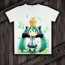 Anime Clothing Vocaloid Hatsune Miku White Short Sleeve Sport T-shirt Tee Casual