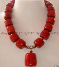 """New 10-15mm Natural red coral Gemstone barrel beads charms women necklace 18"""" AA"""