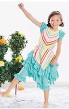 New Lemon Loves Lime Taffy Stripes Flair Dress Set From Chasing Fireflies Size 8
