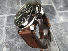 24mm NEW COW LEATHER STRAP Brown Watch Band Black Stitch PAM 24 mm