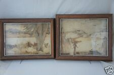VINTAGE FRAMED ART DRY FLOWER & BARK COLLAGES SIGNED LEONIE GREENWAY PAIR