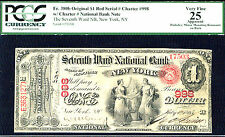 1875, $1 FR 380b Orig Large Size National # 998 Red Serial # Seventh Ward NB, NY
