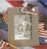 **AMERICAN EAGLE PICTURE FRAME ** PATTERN ONLY**PLASTIC CANVAS PATTERN**