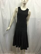 Forever New Size S Fits 8 Black with White Stripes Sleeveless Knit Dress