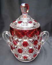 1885 Early American Pattern Glass Red Block Stained Sugar Bowl with Lid