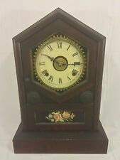 Antique Jerome Rosewood Steeple Clock w/ Reverse Painted Glass Tablet Runs w/ A