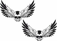 2x skull stickers Motorcycle Gas Tank car bumper Book Helmet Trailer decal  #32