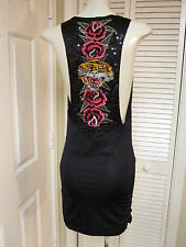 ED HARDY CHRISTIAN AUDIGIER SEXY BLK SEQUIN TATTOO TIGER SHIMMER SHIRRED DRESS S