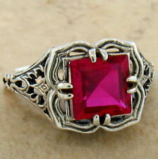 RED LAB RUBY ANTIQUE FILIGREE DESIGN 925 STERLING SILVER RING SIZE 5.75,#674