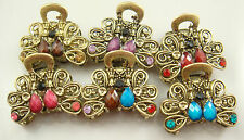 hot wholesale 2pcs Crystal Bronze Metal Alloy Hair Clamp Claw Clips Hairpins a5