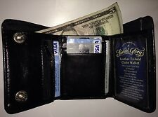 FADED GLORY MEN'S TRIFOLD GENUINE BLACK LEATHER WALLET PASSCASE WITH CHAIN HOOK