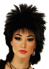 Black Punk Wig  Rocker Emo Mullet Goth 80'S Tina Turner Fancy Dress