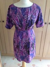 STUNNING TAHARI ARTHUR S LEVINE PURPLE PATTERENED DRESS UK SIZE XS (6) WORN ONCE