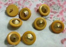 LOT 8 ANCIENS BOUTONS COROZO JAUNE ORANGE CUIVRE DORE pointu 20 mm ENL