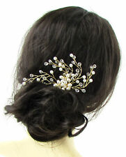 Gold Ivory White Pearl Vine Hair Comb Bridal Bridesmaid Wedding Headpiece 722