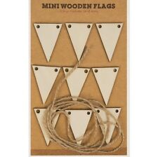 9 x Mini Wooden Flags & 1m Jute String Arts Crafts Card Making Scrapbooking