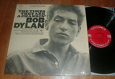 """BOB DYLAN 1965 """"Times They Are A-Changin'"""" LP w INSERT (2-eye) SHRINK NM/NM-"""