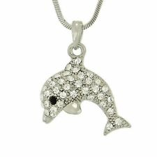 "Dolphin W Swarovski Crystal Ocean Beach Sea Marine Pendant 18"" Chain Necklace"