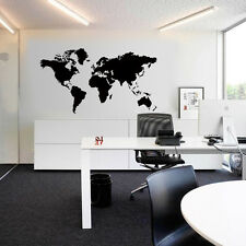 Home Decor Black Map of the World Wall Sticker Decal Vinyl Art Sticker Large DIY
