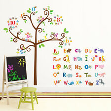 DECOWALL Animal Alphabet et Nombres arbre mur autocollants stickers tatouages enfants 1503