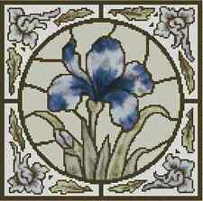 """Cross Stitch ART DECO Stained Glass """"IRIS"""" - COMPLETE KIT -  No.33-108 Kit"""